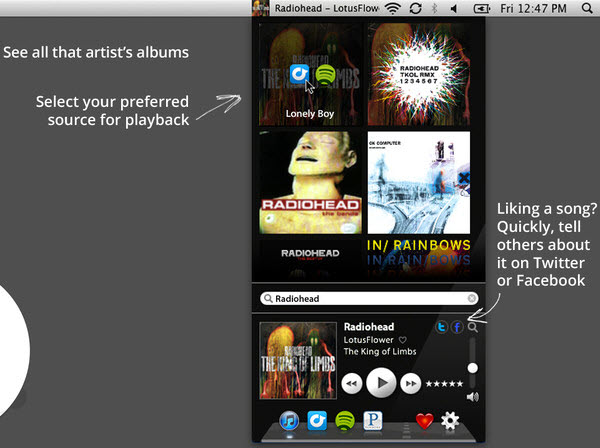 Music Control - Powerful and simple multi-app audio control for Pandora Radio, iTunes, Spotify, and Rdio.