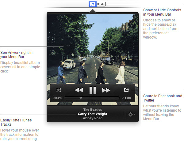 Skip Tunes for Mac - Control iTunes, Spotify, and Rdio from the menu bar.