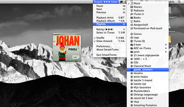 SmashTunes is a Mac application that lets you control iTunes or Spotify from the menu bar.