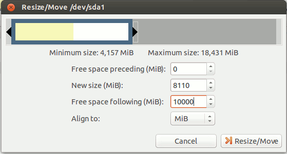 gparted-set-new-partition-size