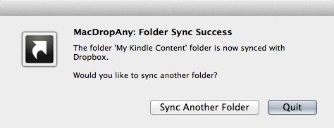 MacDropAny folder sync success confirmation message.