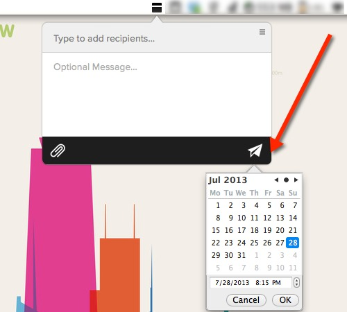 Press and hold on the send button to schedule messages to send at a later time.