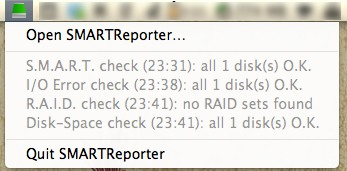 Check the status of your hard disk from the menu bar icon.