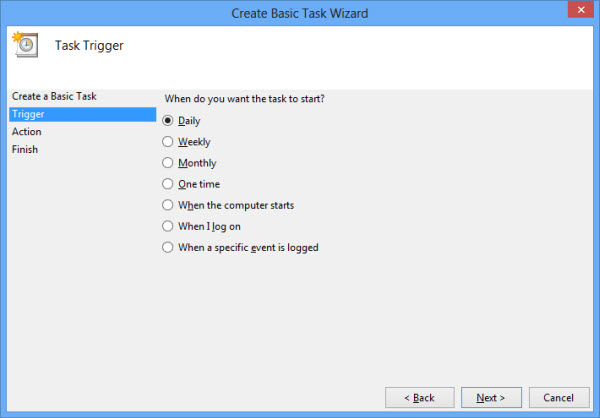 select the trigger to activate task in task scheduler