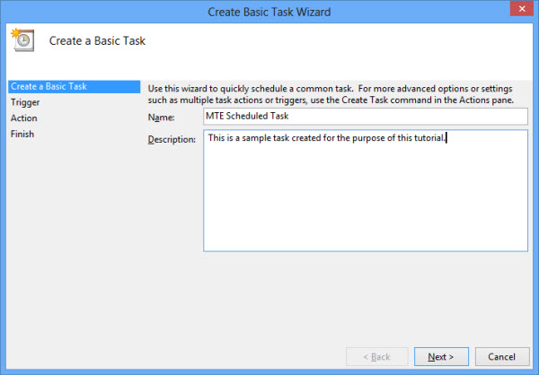create basic task with task scheduler