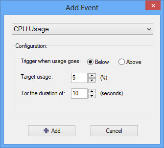 select CPU usage as Events in Shutter