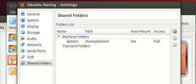 Accessing Shared Folder in VirtualBox with Ubuntu Guest