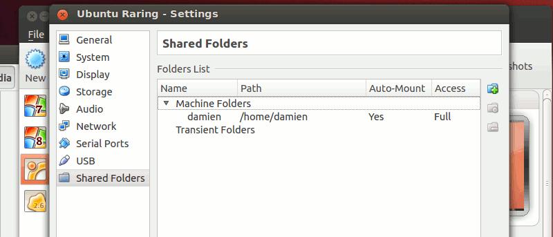 Accessing Shared Folder in VirtualBox with Ubuntu Guest