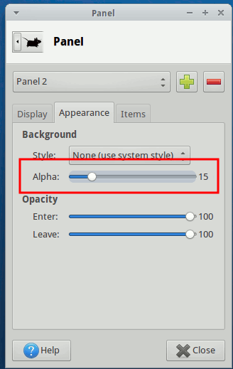 xfce-new-panel-alpha-configuration