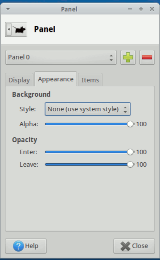 xfce-panel-appearance