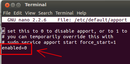 disable-apport-terminal