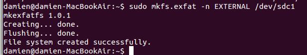 terminal-format-exfat