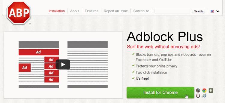adblock plus install for Chrome