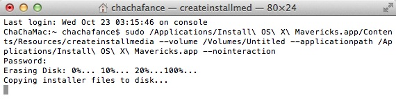 Run this command in terminal to create a bootable OS X Mavericks drive.