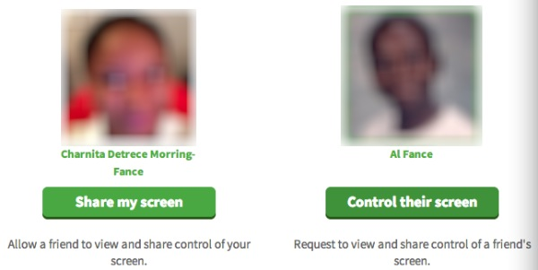 Choose to share your screen or view your friend's screen.