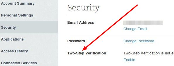 Click on Security and then click on Enable.