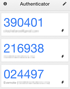The Google Authenticator app for iOS.