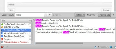 FindBar Tweak for Firefox Lets You Search For Text in All Tabs