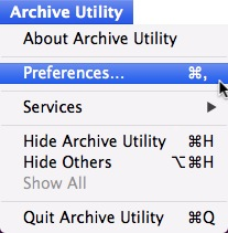 From the Archive Utility menu, select Preferences.