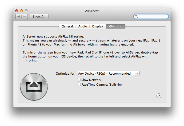 Airplay-Mirroring-Airserver-Settings