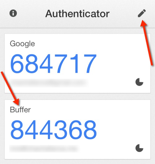 Buffer added to the Google Authenticator iOS app.