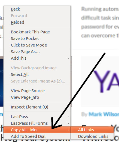 Copy all the links on a web page via right-click on Firefox.