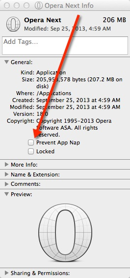 Click the box next to Prevent App Nap in the Info window.