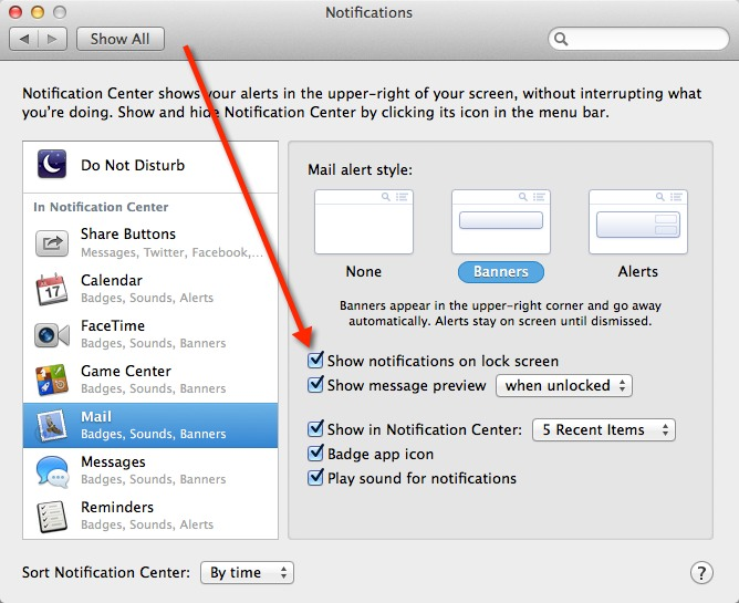 In OS X Mavericks you can disable notifications on the lock screen on a per-app basis.