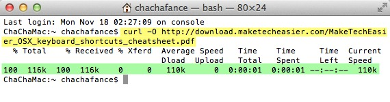 Download completed via Terminal in Mac OS X.