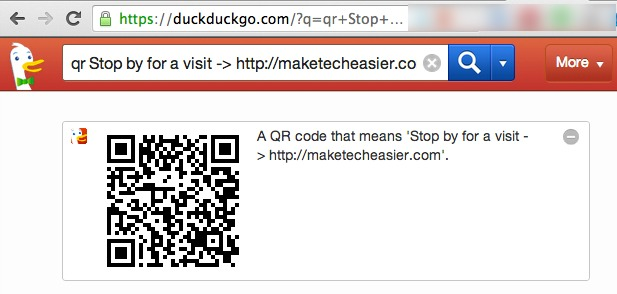 A QR Code created with DuckDuckGo.