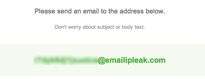 You'll be given a unique email address that you'll need to send a message to.