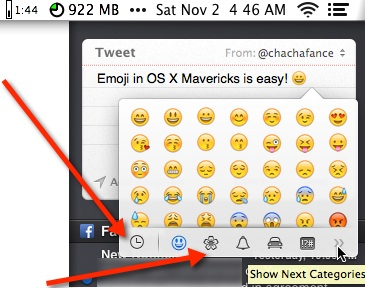 The Emoji characters window in Mac OS X Mavericks.