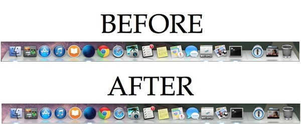 The Mac Dock in OS X Mavericks before and after making it translucent.