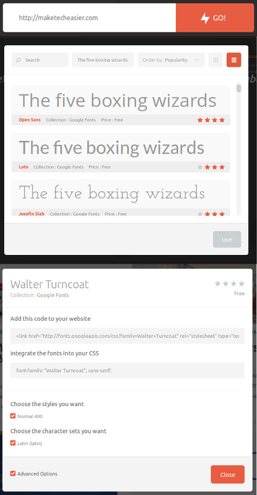 These are the steps needed to test web fonts with TypeWonder.