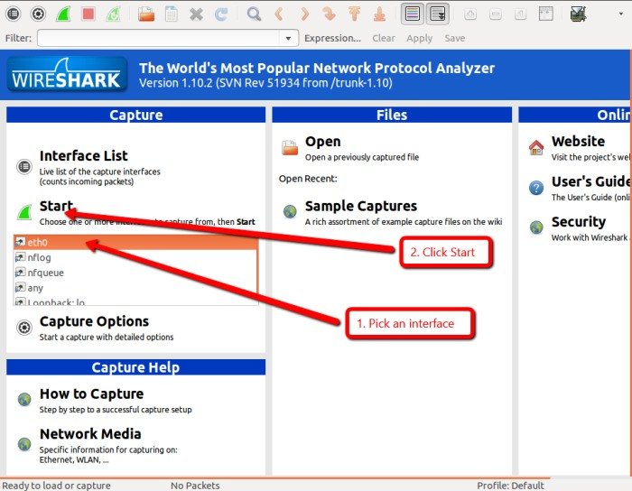 wireshark-Start-capture