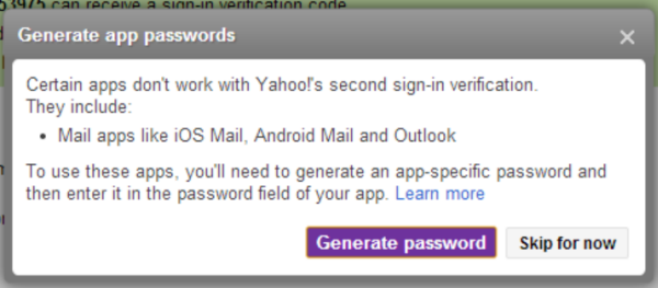 yahoo generate password