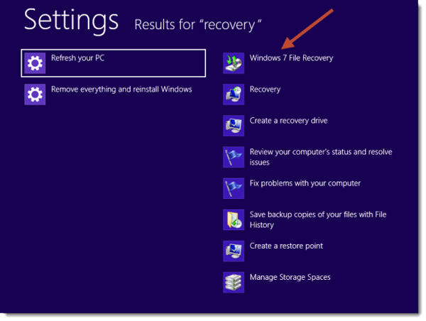 Create System Image Windows 8 - Search for recovery