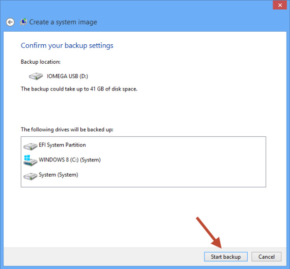 Create System Image Windows 8 - Confirm backup settings