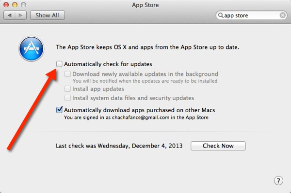 Uncheck the option next to 'automatically check for updates.'