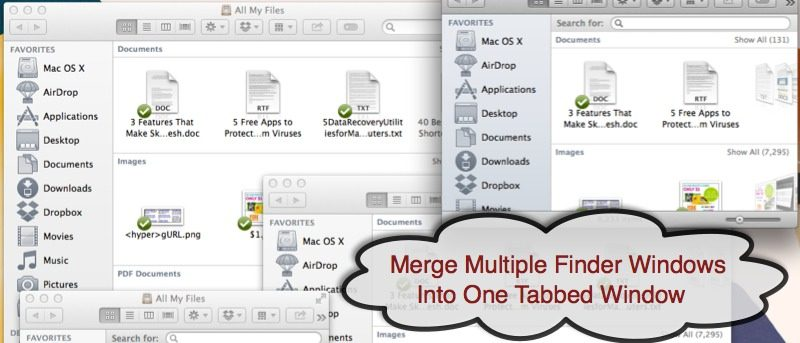 Merge Multiple Finder Windows Into One via a Keyboard Shortcut in OS X Mavericks