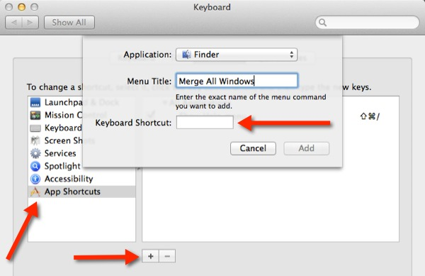 Follow these steps to create a keyboard shortcut in OS X Mavericks to merge multiple Finder windows.