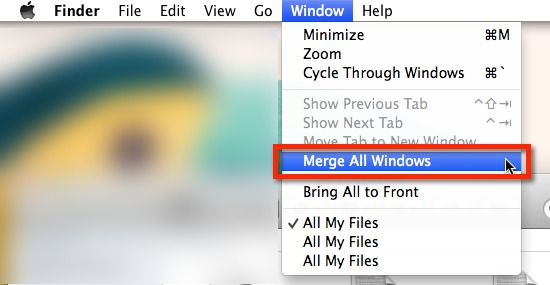 You can merge multiple Finder windows from the 'Window' menu.