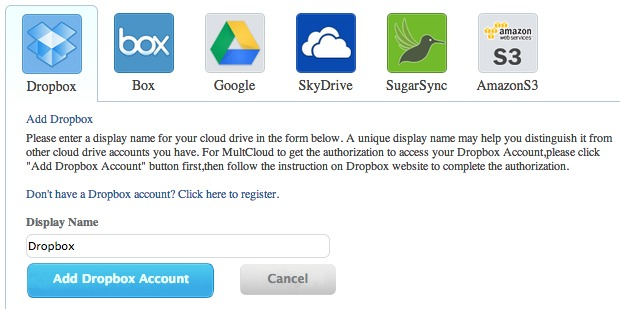 Adding accounts to MultCloud is easy.