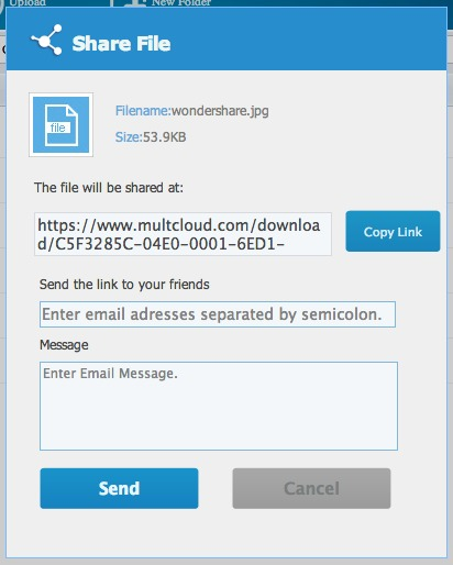 File sharing in MultCloud.