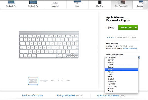 You can buy a new wireless keyboard from Apple's website with your own keyboard language input source.
