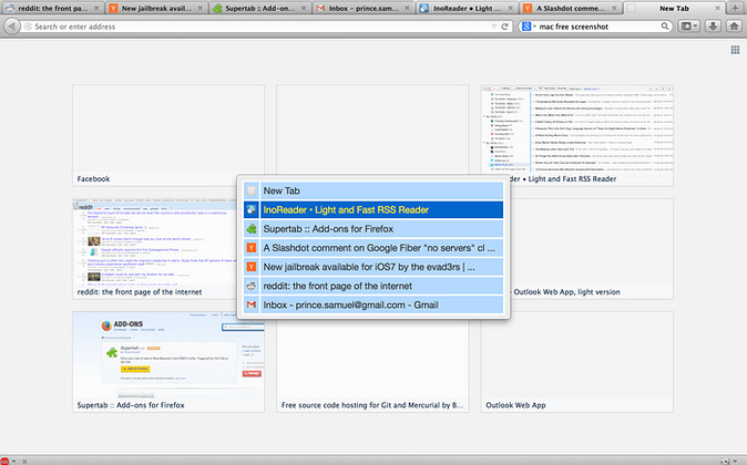 Supertab for Firefox in action - Alt+Tab to cycle open tabs.