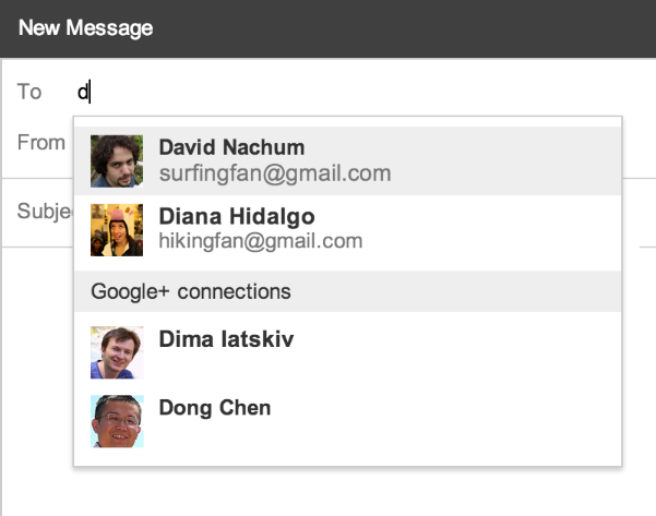 Gmail new recipient suggestion list including Google+ connections.