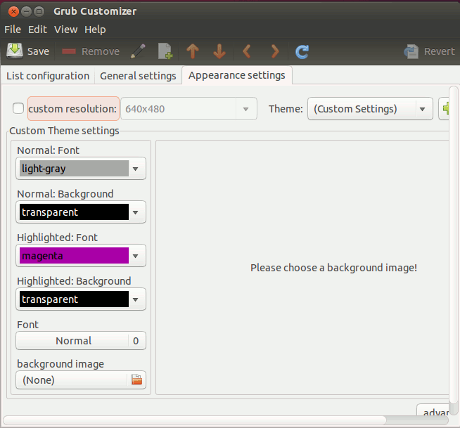 grub-customizer-appearance-settings