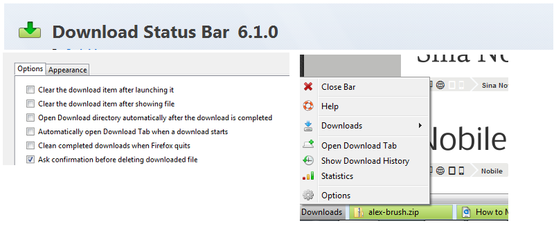 Manage Firefox Downloads From The Status Bar