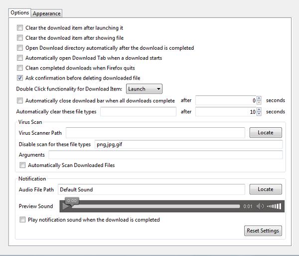 download status bar - options